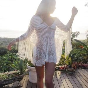 2021 Women Sexy Hollow Tunic Beach Dress White